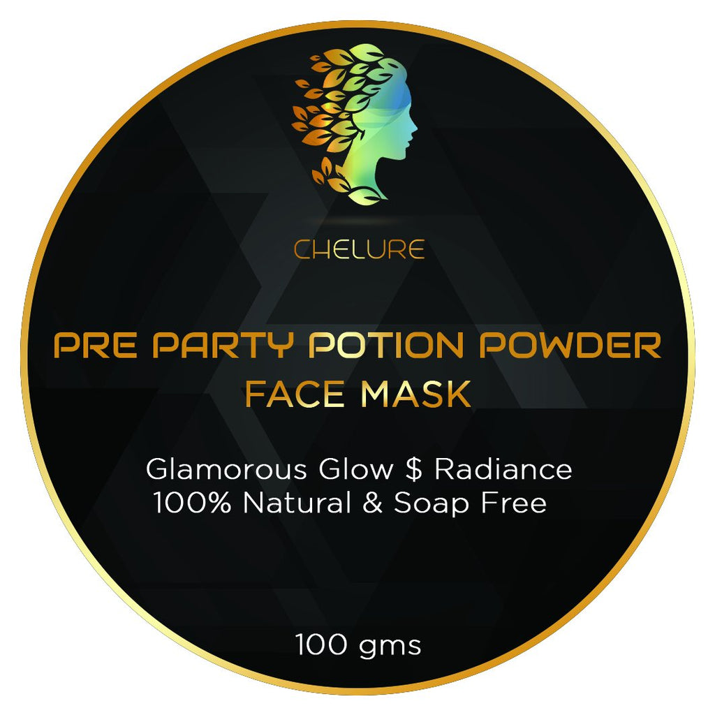 Chelure Pre Party Potion Powder Face pack Glamorous Glow Radiance FACIAL in a pack 100% Natural & Soap Free