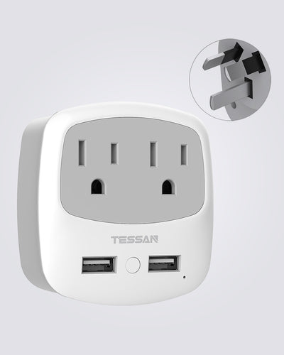 Australia China Travel Plug Adapter with 2 Outlets 2 USB (Type I)