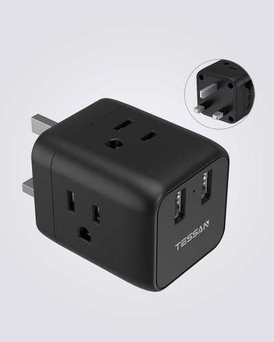 UK Power Adapter Plug with 3 US Outlets and 2 USB Ports(Type G)