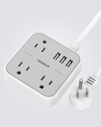 Portable Power Strip with 3 USB 3 Outlets
