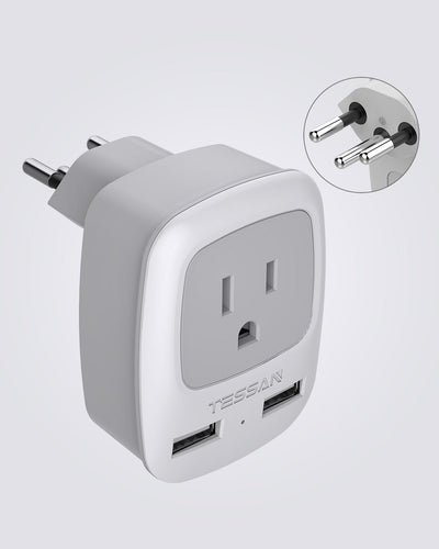 Switzerland Travel Plug Adapter with 2 USB(Type J)