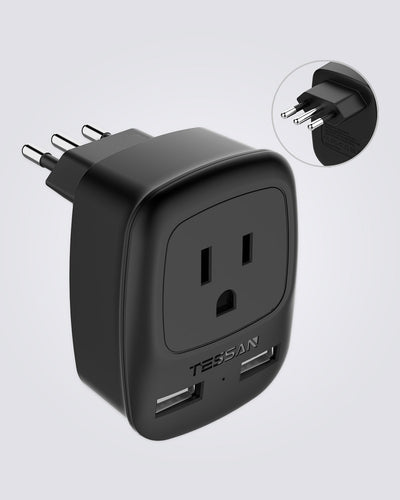 Italy Travel Power Adapter with Dual USB Ports(Type L)