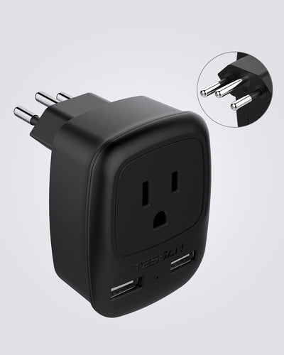 Brazil Travel Plug Power Adapter with 2 USB Ports(Type N)