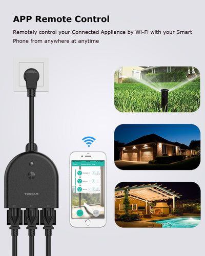 Outdoor WiFi Smart Plug with 3 AC Outlets