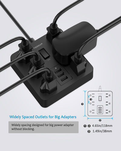 6 Outlets Power Strip with 3 USB