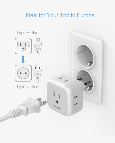 European Travel Plug Adapter with 4 US Outlets(Type C)