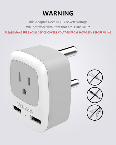 South Africa Travel Plug Adapter with 2 USB(Type M)