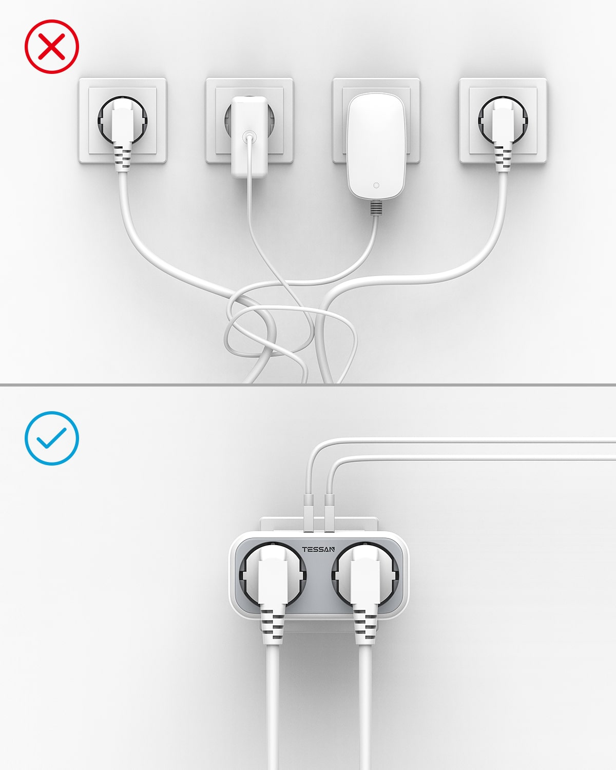 USB Power Strip with 4 Widely Outlets