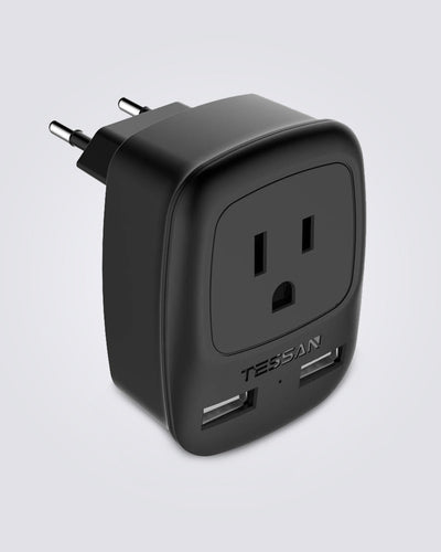 European Travel Adapter with 1 US Outlets 2 USB Ports(Type C Plug)