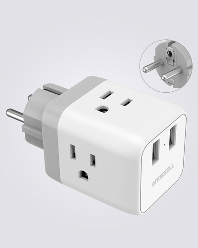 Travel Plug Adapter with 3 Outlets and 2 USB Charger