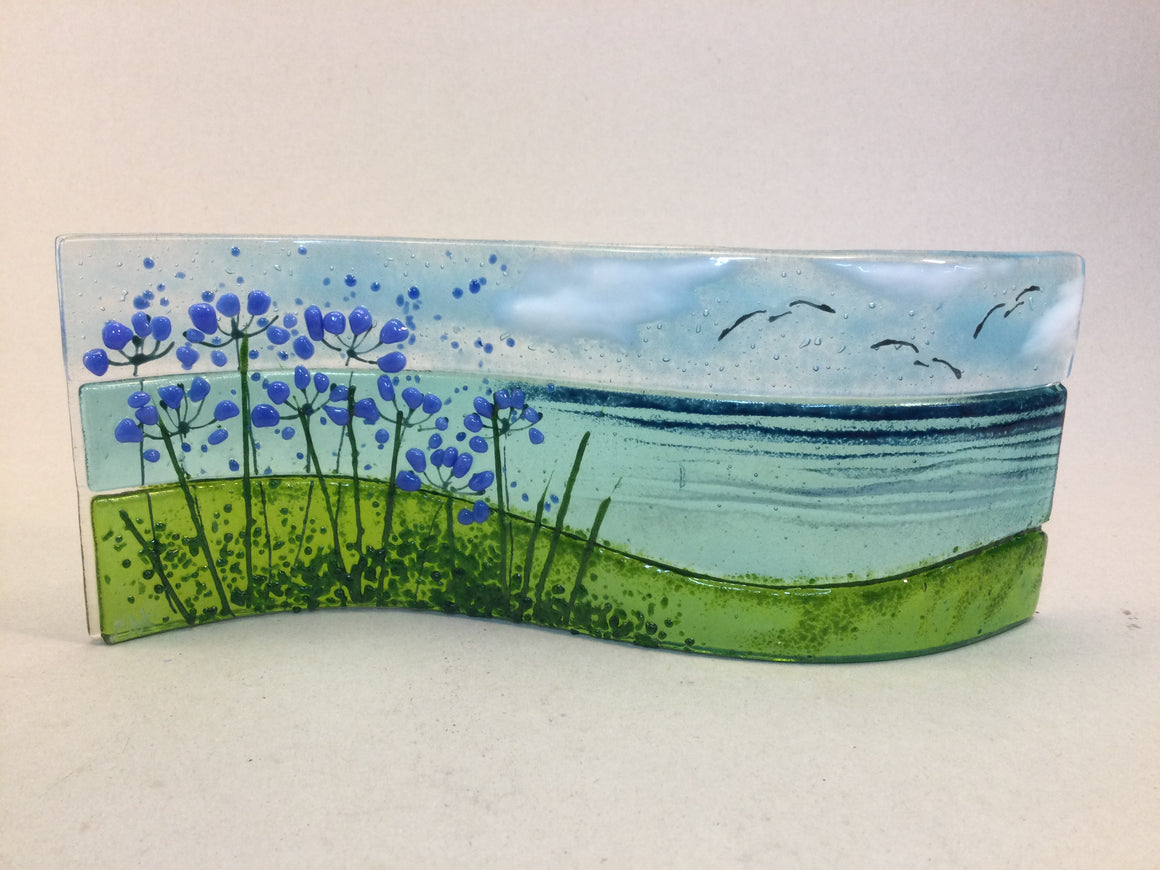 Large Freestanding Wave - Sea Scene with agapanthus