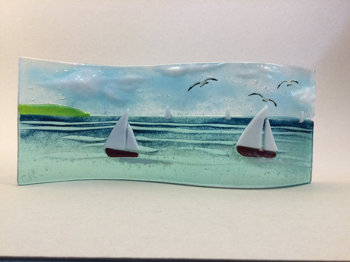 Large Freestanding Wave - Sea Scene with sailing boats