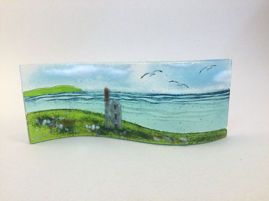 Large freestanding wave - Sea scene with Cornish Tin mine engine house.