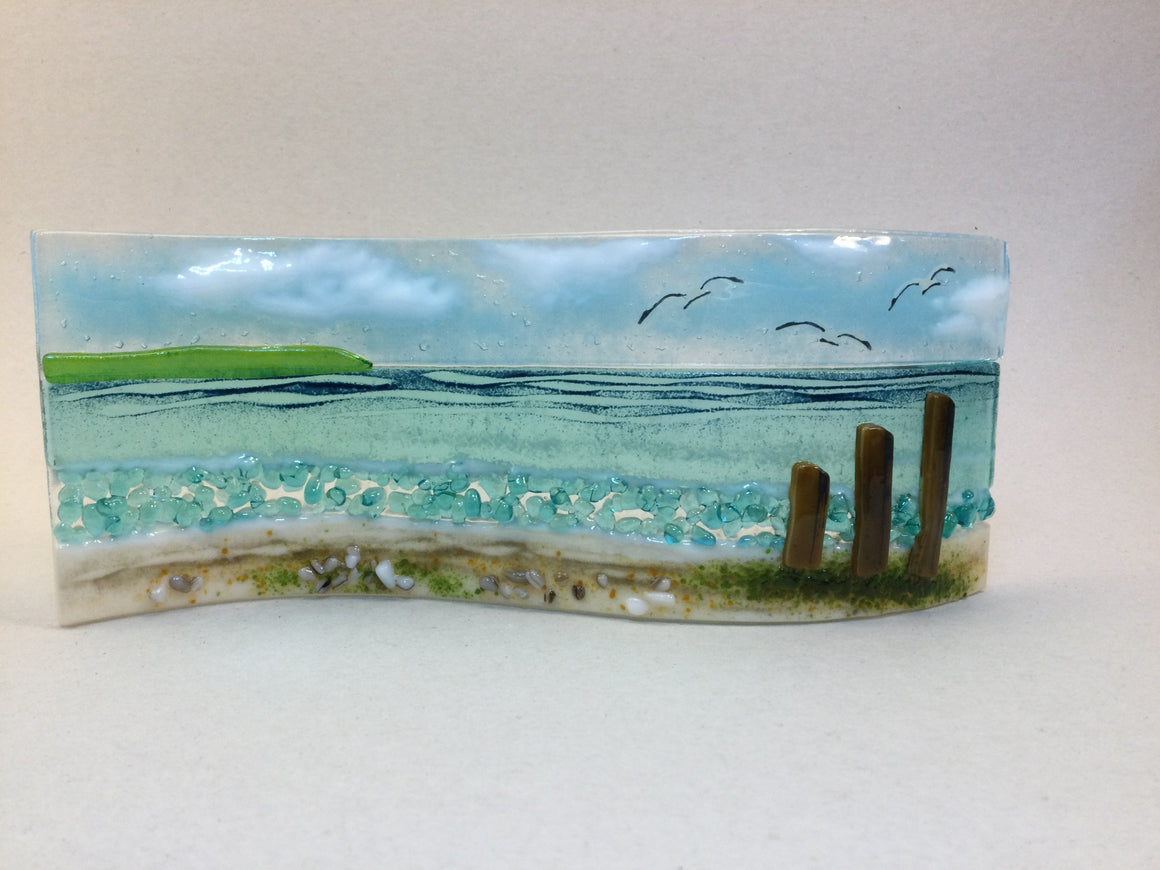 Large Freestanding Wave - Sea Scene with groyns