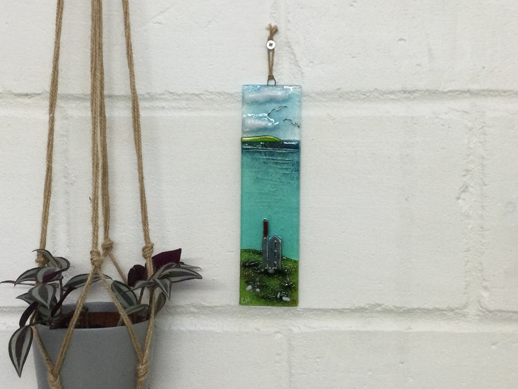 Large Hanger - Sea scene with Cornish engine house. Tin mine Poldark