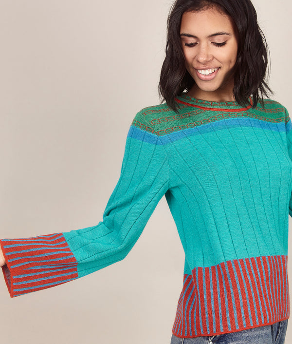 Ribbed Stripes Pullover C001