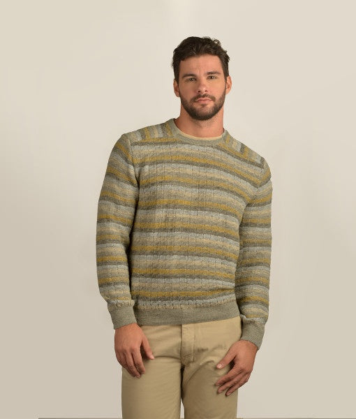 Striped Pullover With Elbow Patches