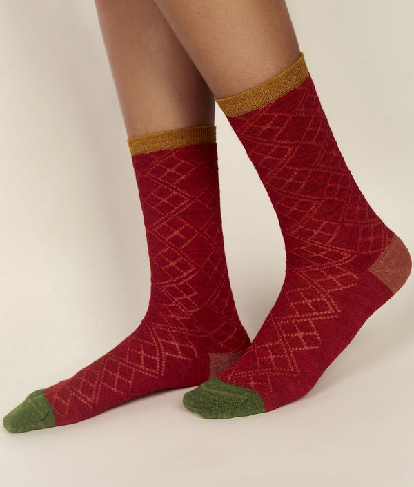 Bicolour Jacquard Ladies Socks C005