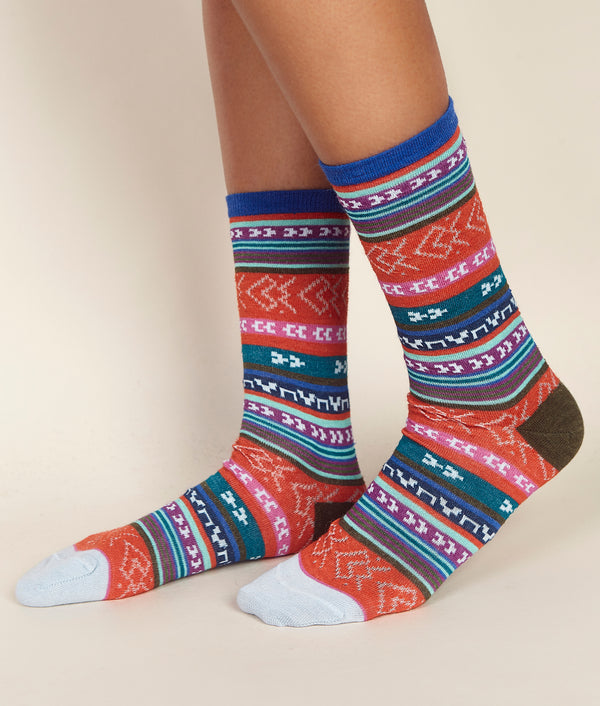 Multi Jacquard Ladies Socks C001