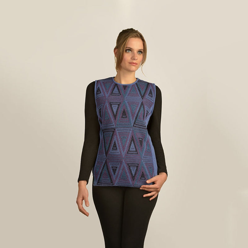 Triangles and Ribs Sleeveless Pullover