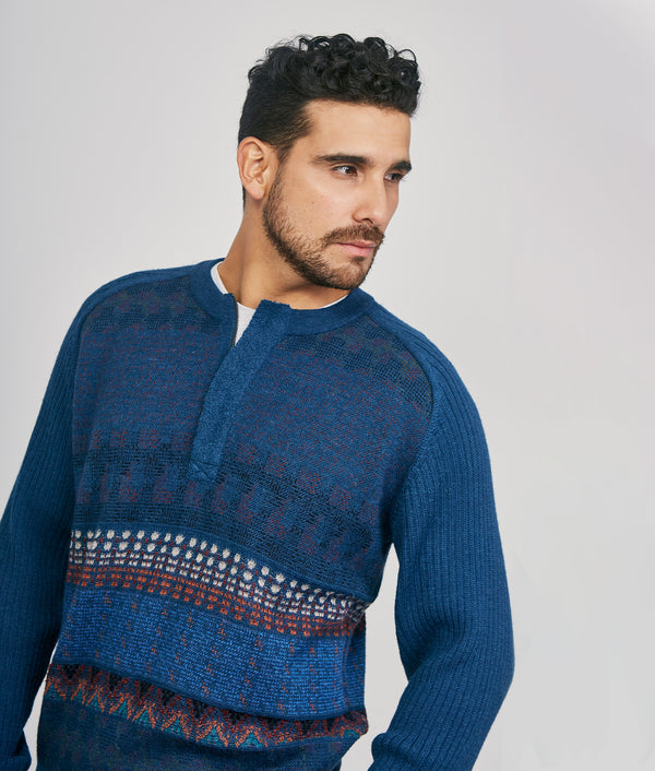 Tapestry zipped front pullover C002