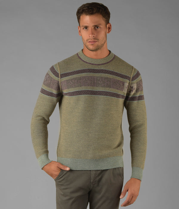 Reversible ribbed crew pullover C002
