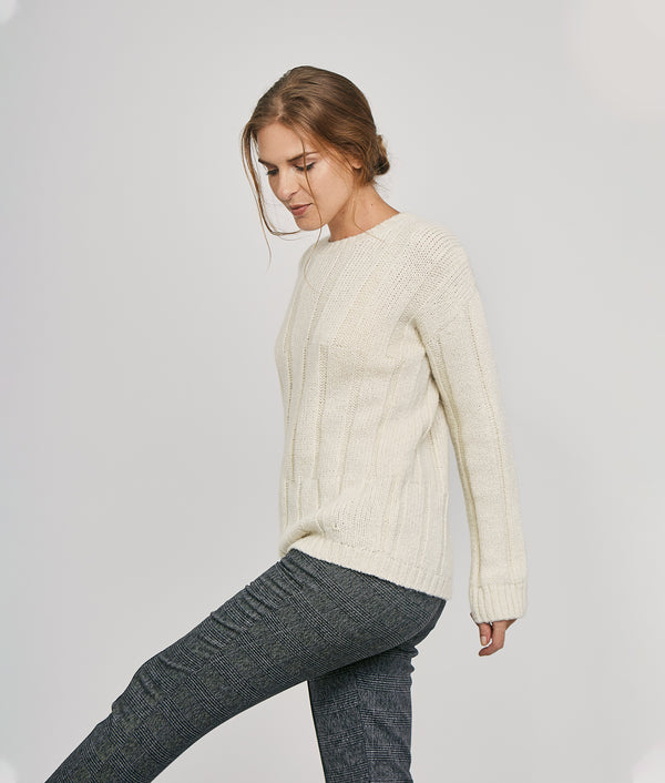 Ribbed long pullover C002