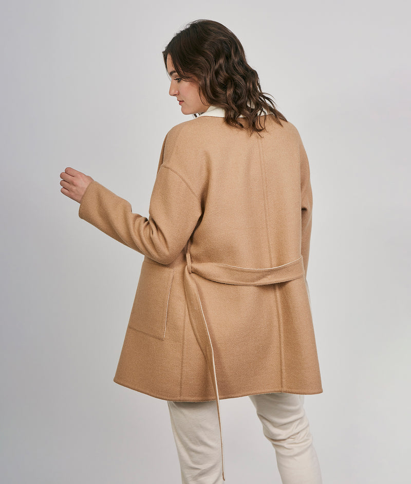 Reversible wrap coat C003