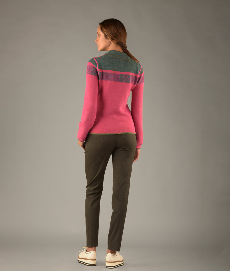 Ribbed reversible mock neck C003
