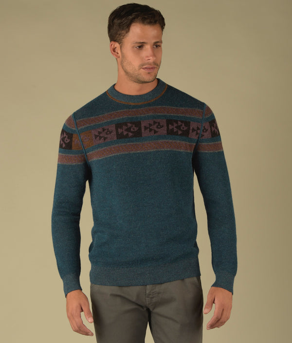 Reversible ribbed crew pullover C003
