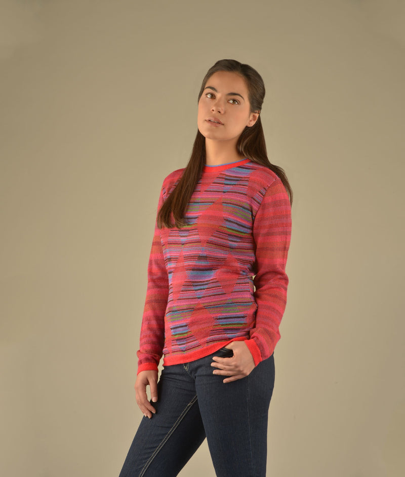 Striped diamonds crew neck pullover
