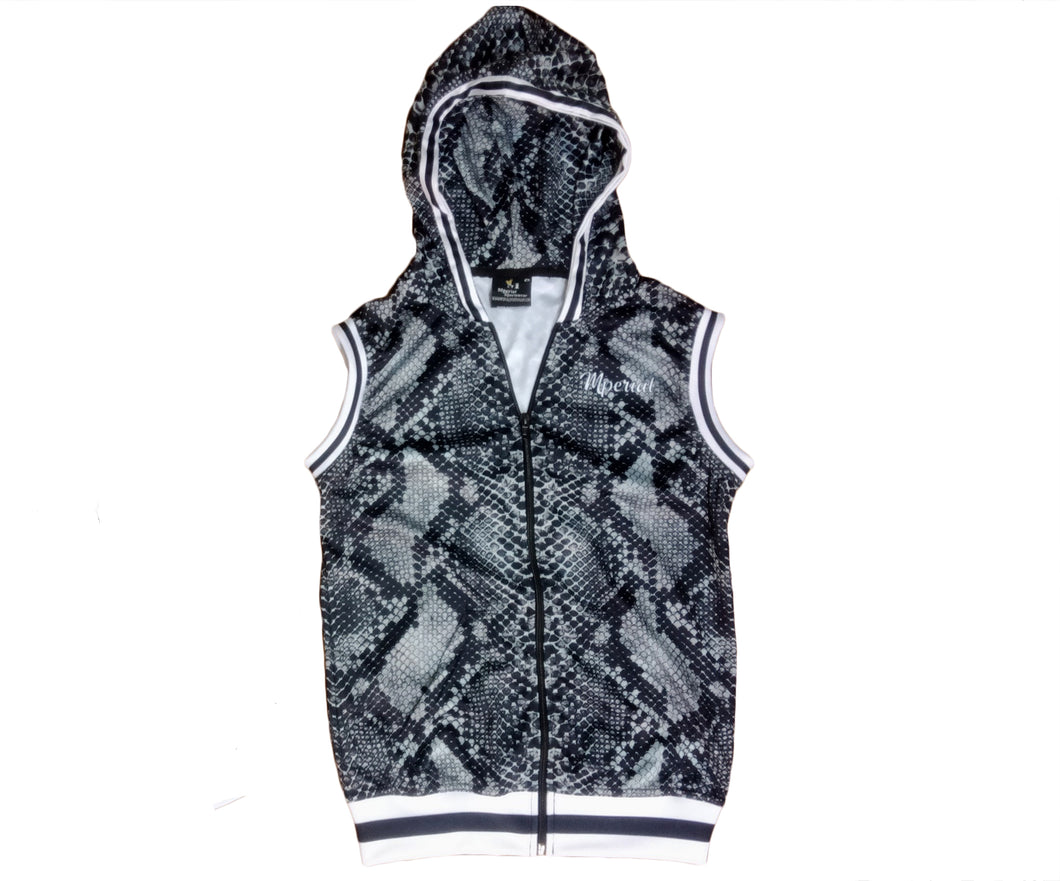 Women's Grey Snakeskin Zip Up Hoodie