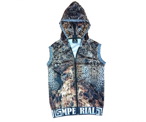 Women's Leopard on Fire Sleeveless Zip up Hoodie