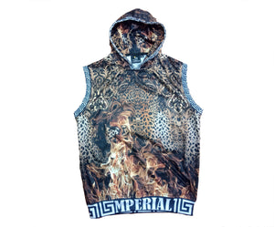 Leopard on Fire Sleeveless Hoodie*