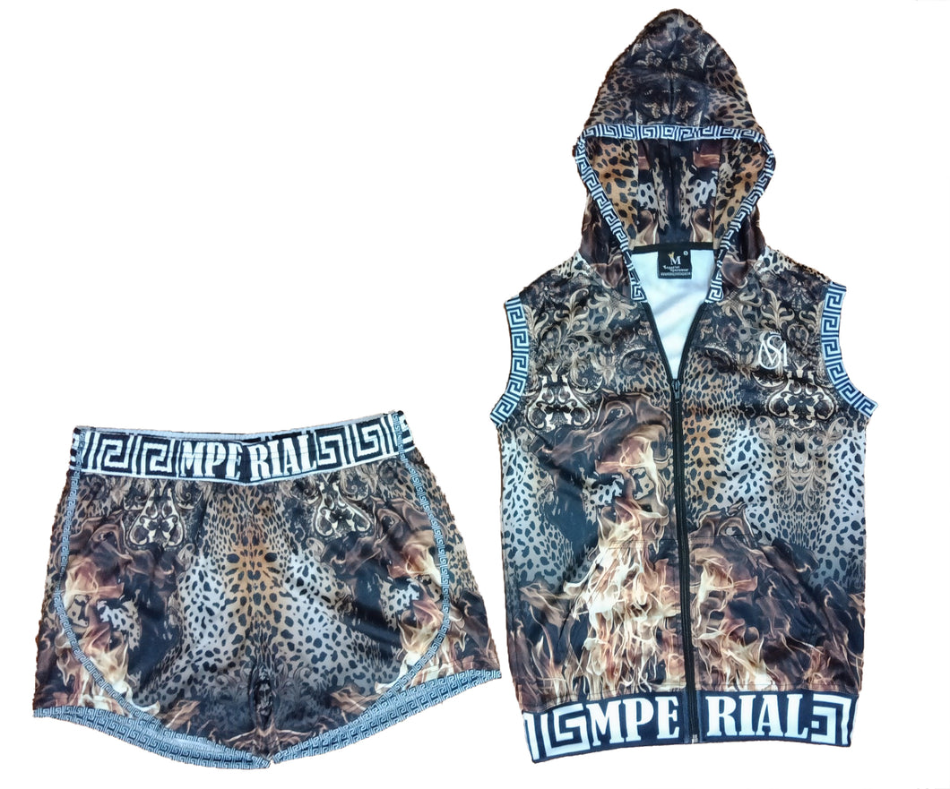Women's Leopard on Fire Sleeveless Hoodie and Short Set