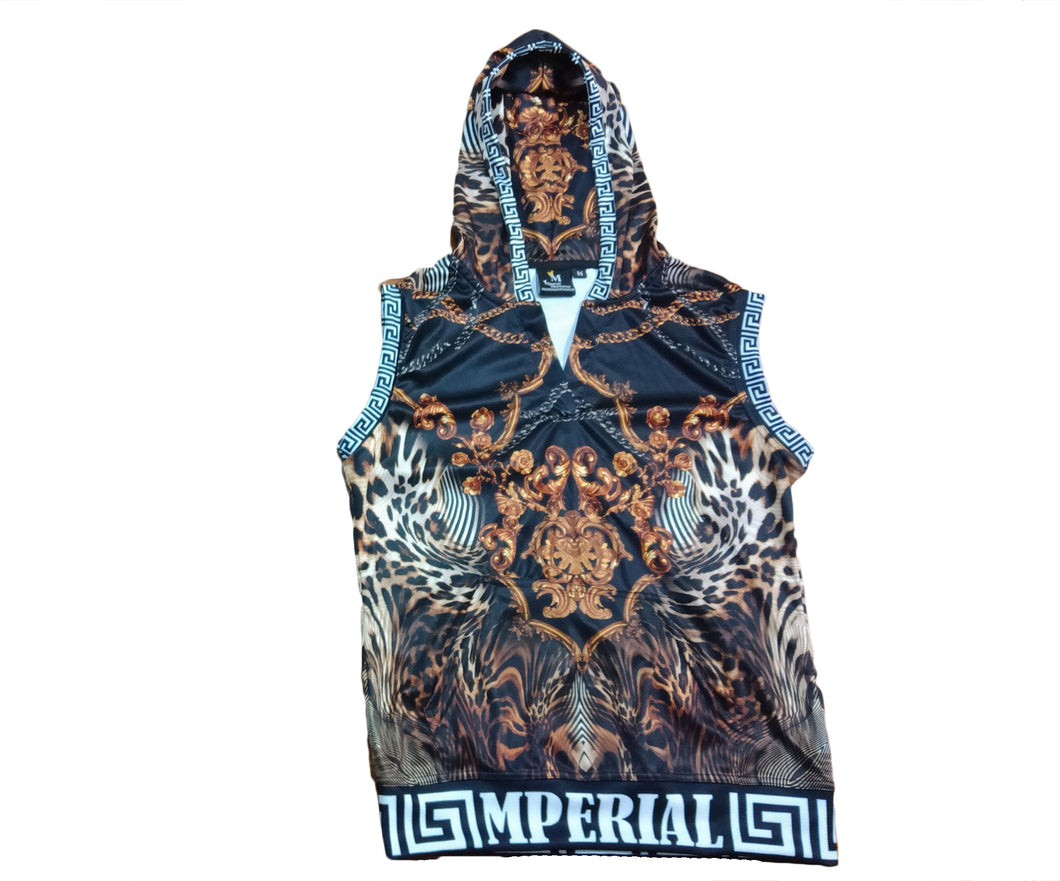 Women's Leopard Lux Sleeveless V-neck Hoodie