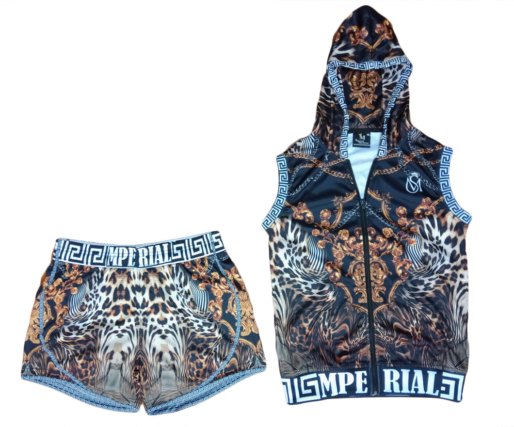 Women's Leopard Luxury Sleeveless Hoodie and Short Set