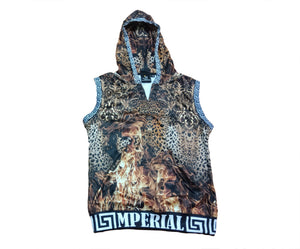 Women's Leopard on Fire Sleeveless Pullover Hoodie