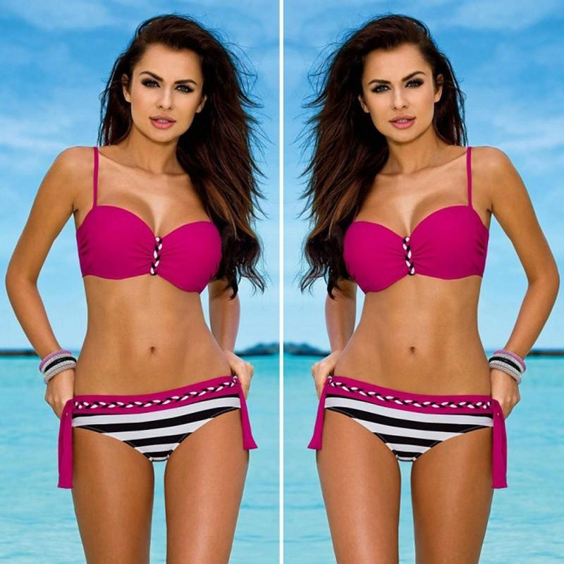 YCDKK New Sexy Brazilian Push Up Biquini Swimwear Female Stripe Tanga Bikinis Halter Swimsuit Beach Bathing Suit Maillot De Bain-cigauy