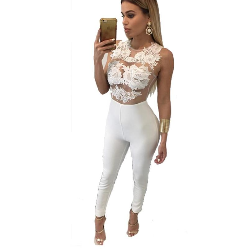 rompers womens jumpsuit 2016 solid white high waisted long overalls for women playsuits-cigauy