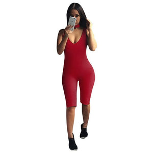 2016 Black Bodycon Bodysuits Sexy Halter Jumpsuit Knee Length Sleeveless Playsuit Elegant Fitness Rompers And Jumpsuits Ladies-cigauy