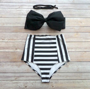 Bowknot Printed Bikinis Sexy Women High Waisted Swimwear Beachwear Bandeau Bottom and Tops Bathing Suit Summer Style Biquinis-cigauy