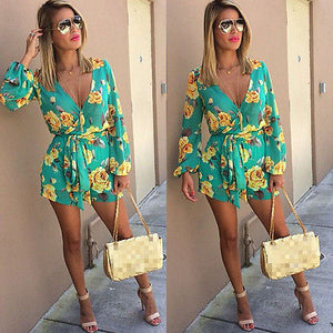 2016 Summer new style floral print women short jumpsuit romper Deep v neck strap playsuits overalls-cigauy