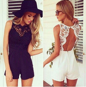 Sexy Backless Club Lace stitching chiffon sleeveless Female Rompers halter wave hollow fashion shorts Jumpsuits summer women-cigauy