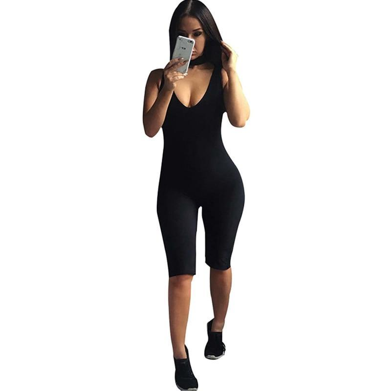 Abasona Bodycon Playsuit Sleeveless Bib Neck jumpsuits women Backless Tight Sportsuit Yuga Fitness Clothing Slim Rompers-cigauy