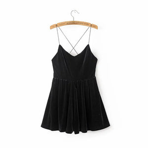 Aelegantmis 2017 Spring Black Velvet Playsuit Women Sexy Backless V Neck Ladies Rompers Short Sleeveless Loose Velour Playsuit-cigauy