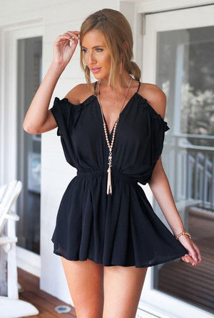 MOONIGHT Summer Playsuits Sexy V Collar Women New Fashion Ladies Small Fragrant Siamese Shorts Female Playsuit Elastic Waist-cigauy