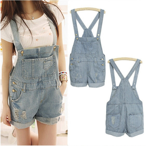 New S-XL Top Quality Women Girls Washed Jeans Denim Casual Hole Jumpsuit Romper Overalls Light Blue Jeans Shorts Pants-cigauy