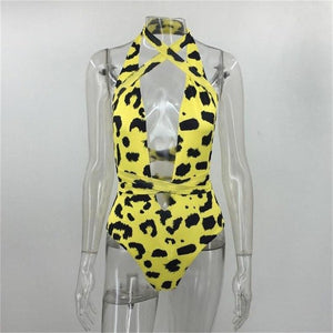 Sexy v-neck halter pattern leopard printing playsuit open front wild romper women Summer playsuits jumpsuit-cigauy