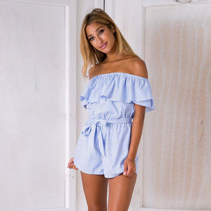 Casual Stripe Playsuit Ruffles off Shoulder Sexy Bodysuit Women Shorts Boho Jumpsuit vestido Summer Style Beach Resort Romper-cigauy